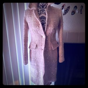 Banana republic light pink paillette pea coat S